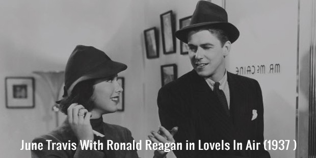 june travis with ronald reagan in loveis in air  1937
