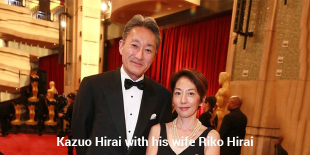 kazuo hirai with his wife riko hirai