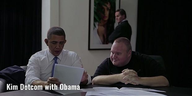kim dotcom with obama