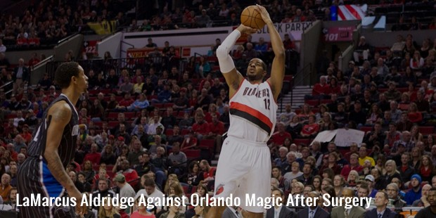lamarcus aldridge against orlando magic after surgery