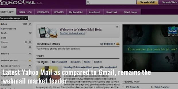 latest yahoo mail as compared to gmail, remains the
