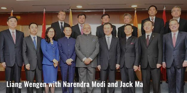 liang wengen with narendra modi and jack ma