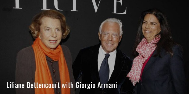 liliane bettencourt with giorgio armani