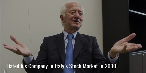 Listed his Company in Italy's Stock Market in 2000