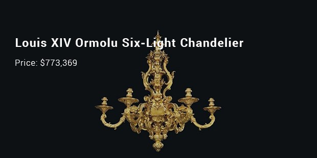 louis xiv ormolu six light chandelier