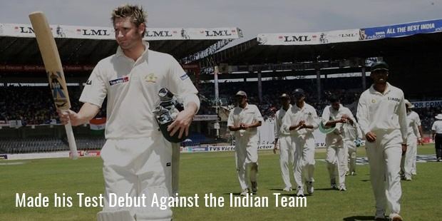 made his test debut against the indian team