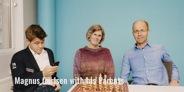 magnus carlsen with his parents