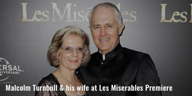 malcolm turnbull   his wife at les miserables premiere