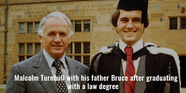 malcolm turnbull with his father bruce after graduating