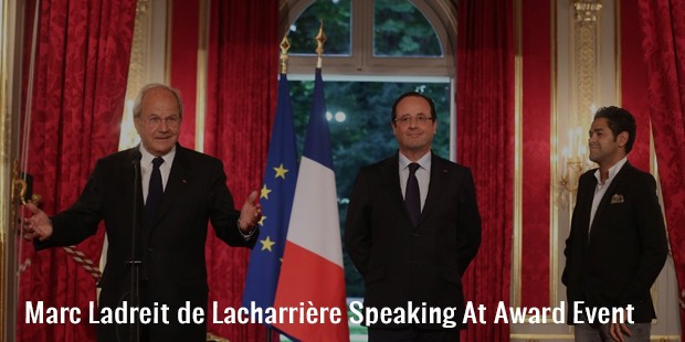 marc ladreit de lacharrière speaking at award event