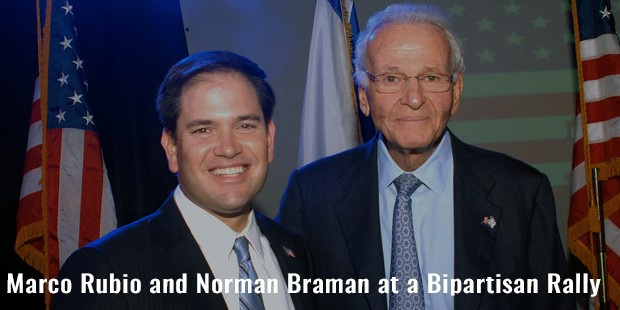 marco rubio and norman braman at a bipartisan rally