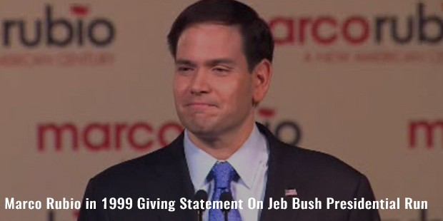 marco rubio in 1999 giving statement on jeb bush presidential run
