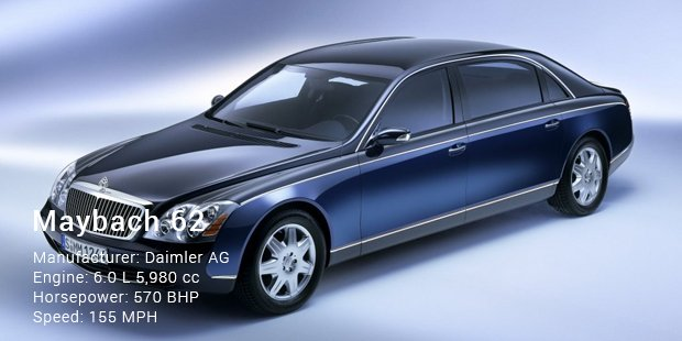 Delicieux 5th On This List Is Maybach 62 Which Has A 6 Liter V12 Engine And 5 Speed  Automatic Transmission System. The Superb Features Of This Car Make It  Truly World ...