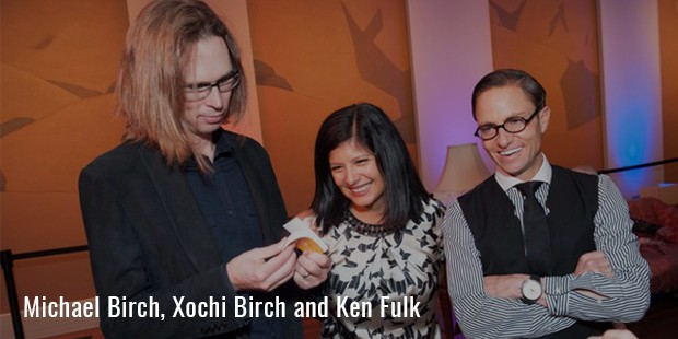 "michael birch, xochi birch and ken fulk at the opening of ""real to real photographs"