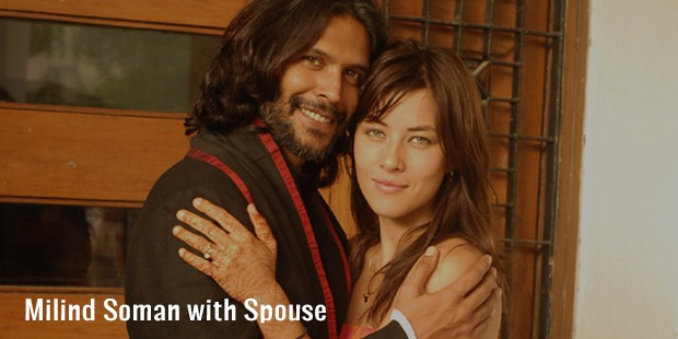 milind soman with spouse
