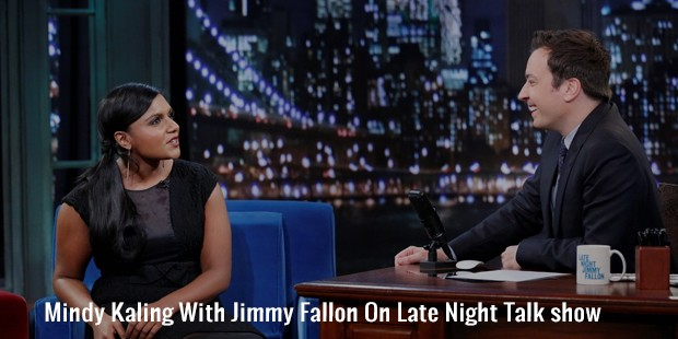 mindy kaling with jimmy fallon on late night talk show