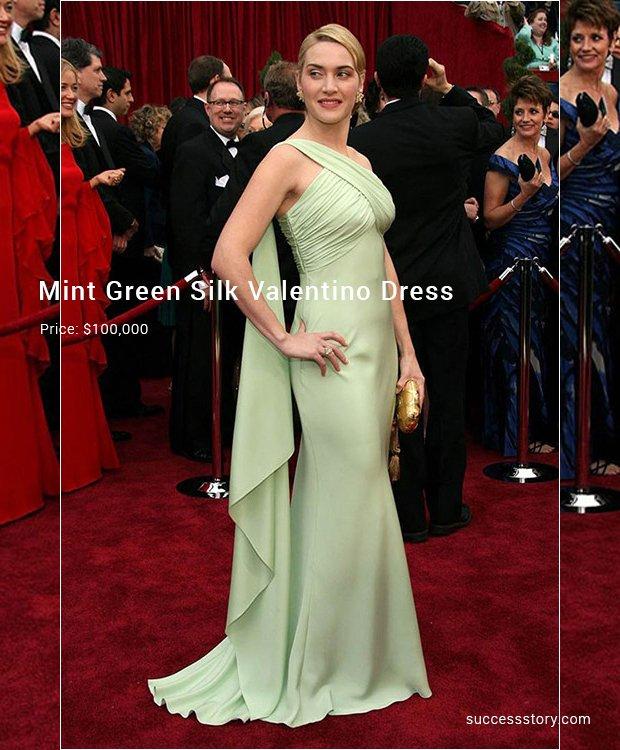 mint green silk valentino dress