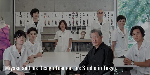 Miyake and his design team photographed at his studio in Tokyo.