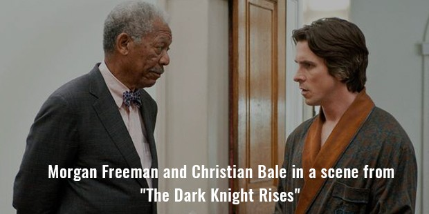 morgan freeman and christian bale in a scene from