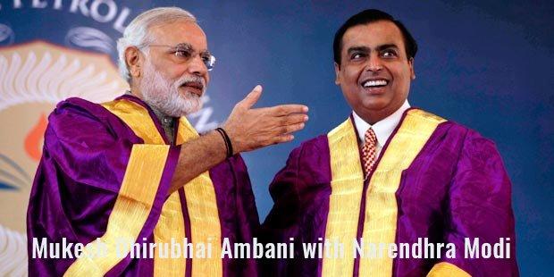 Mukesh Dhirubhai Ambani with Narendhra Modi