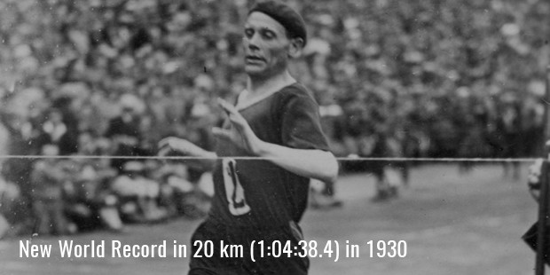 new world record in 20 km  in 1930