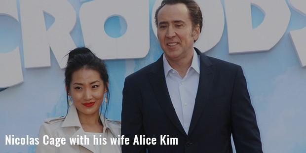 nicolas cage with his wife alice kim
