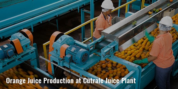 orange juice production at cutrale juice plant