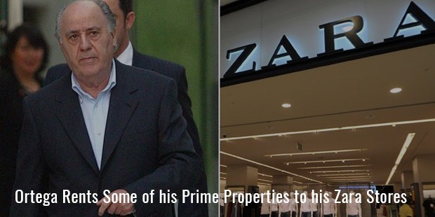 ortega rents some of his prime properties to his zara stores