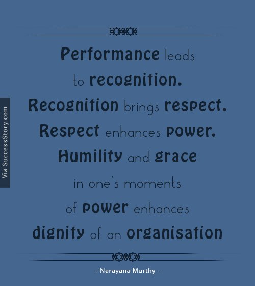 Performance leads to recognition