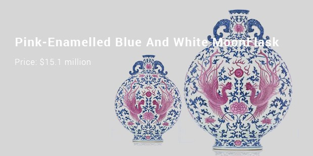 pink enamelled blue and white moonflask