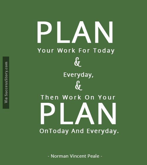Plan Your Work For Today And