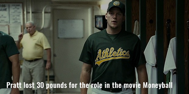 pratt lost 30 pounds for the role in the movie moneyball