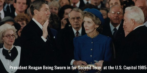 president reagan being sworn in for second term  at the u