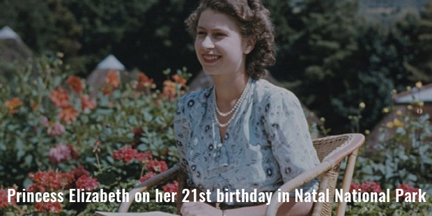 princess elizabeth on her 21st birthday in natal national park