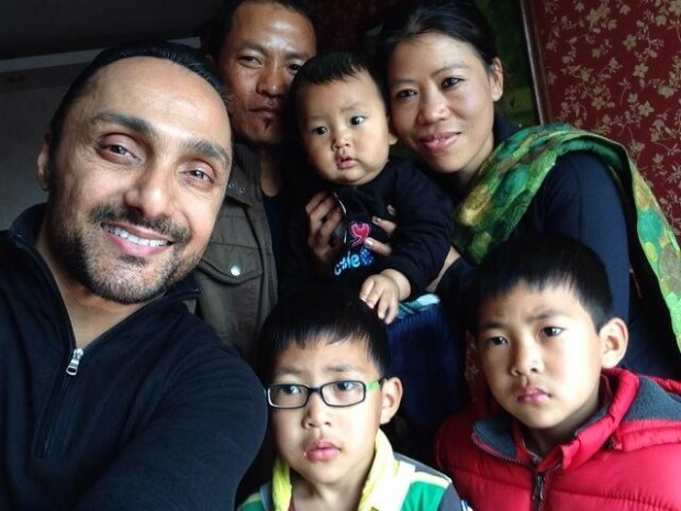 rahul bose with mary kom and family her husband twins and new baby