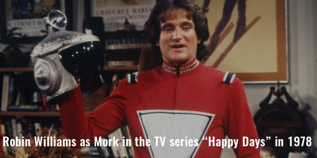 "robin williams as mork in the tv series ""happy days"" in 1978"
