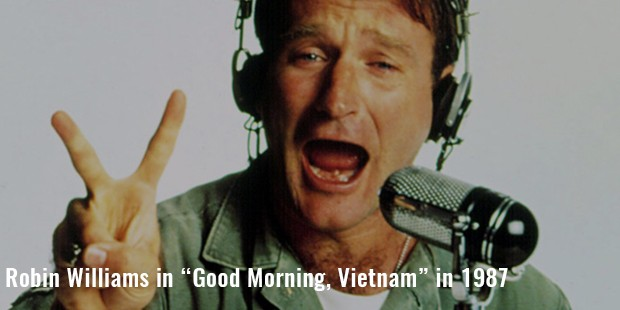 "robin williams in ""good morning, vietnam"" in 1987"