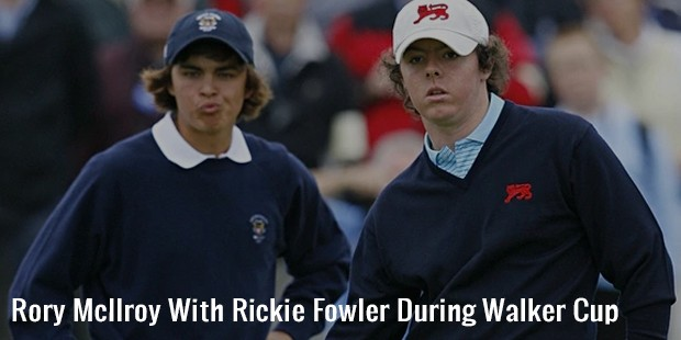 rory mcilroy with rickie fowler during walker cup