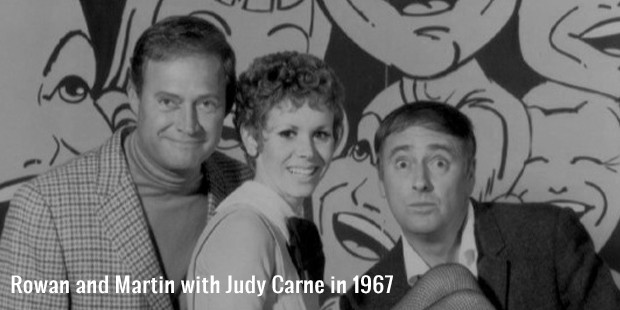 rowan and martin with judy carne in 1967