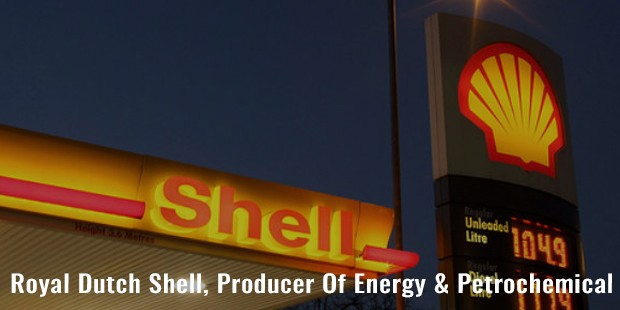 royal dutch shell, producer of energy   petrochemical