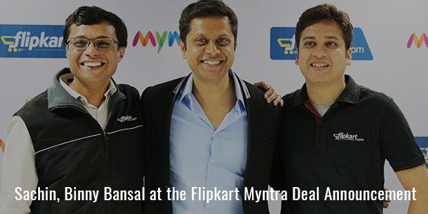 sachin, binny bansal at the flipkart myntra deal announcement