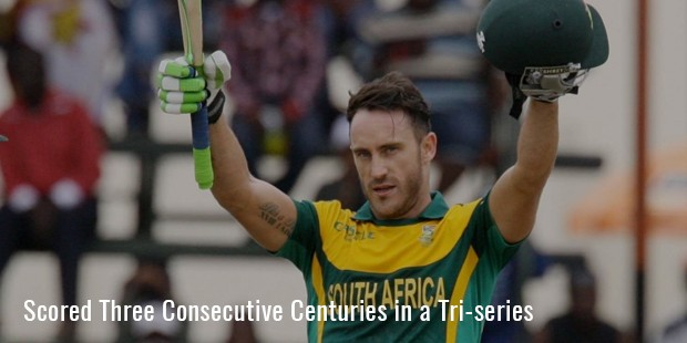 scored three consecutive centuries in a tri series