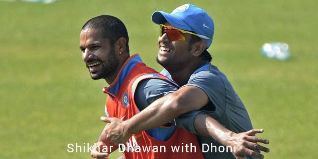shikhar dhawan with dhoni