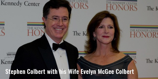 stephen colbert with his wife evelyn mcgee colbert