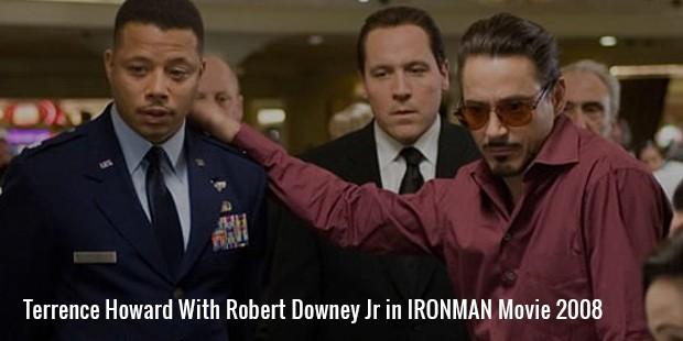terrence howard with robert downey jr in ironman movie 2008