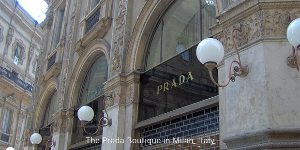 the prada boutique in milan, italy