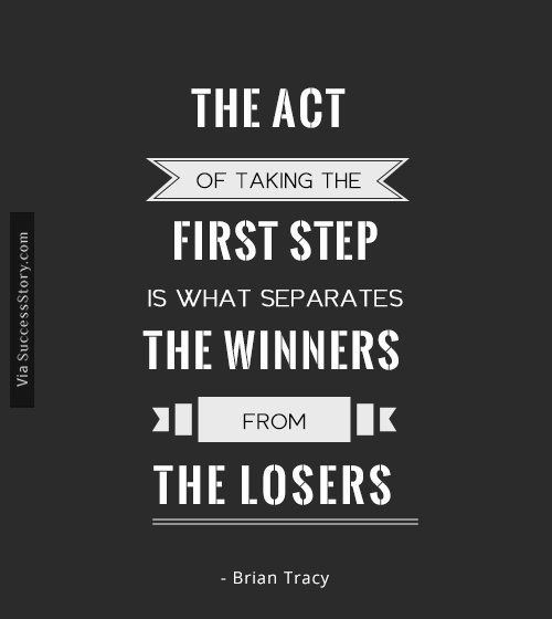 The act of taking the first step