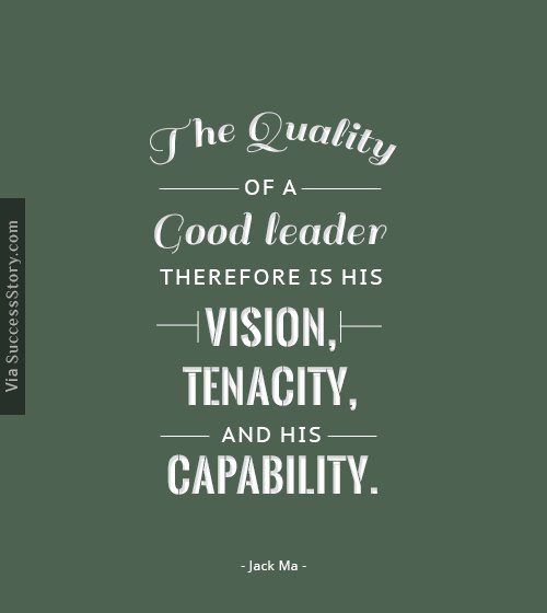 The quality of a good leader therefore