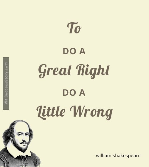 To Do A Great Right Do A Little Wrong William Shakespeare