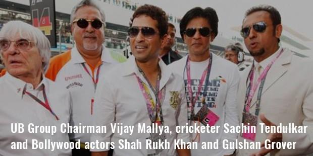 ub group chairman vijay mallya, cricketer sachin tendulkar and bollywood actors shah rukh khan and gulshan grover